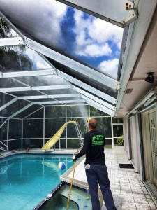john spraying pool screen