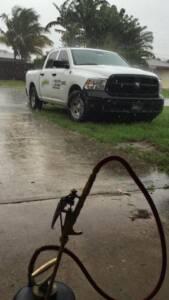truck with rain
